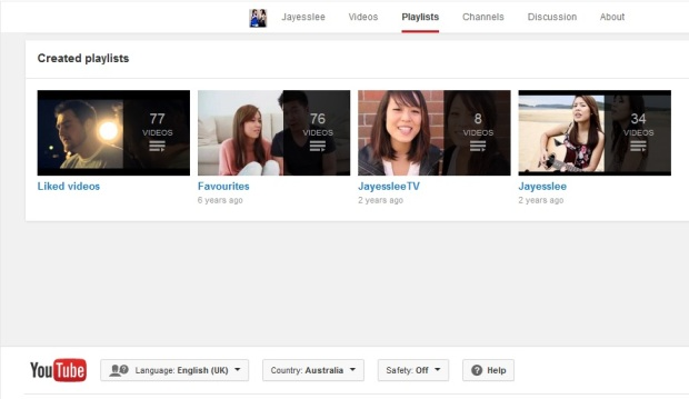 Jayesslee video playlists. Screen shot by me.