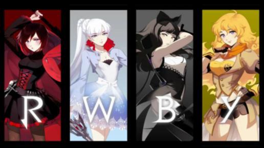 The Logo for RWBY - Characters (L-R): Ruby, Weiss, Blake & Yang