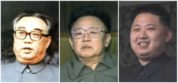 A combination photograph shows founder of North Korea Kim Il-sung, North Korean leader Kim Jong-il and Kim Jong-il's youngest son Kim Jong-un