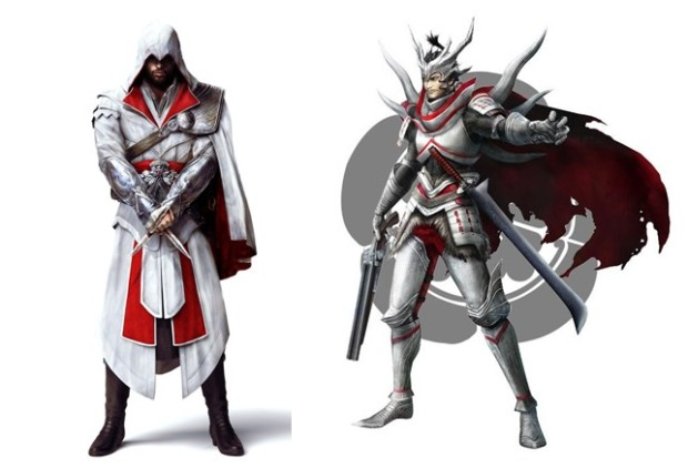 Left: Ezio in his Roman Robes Right: Oda Nobunaga in his armour