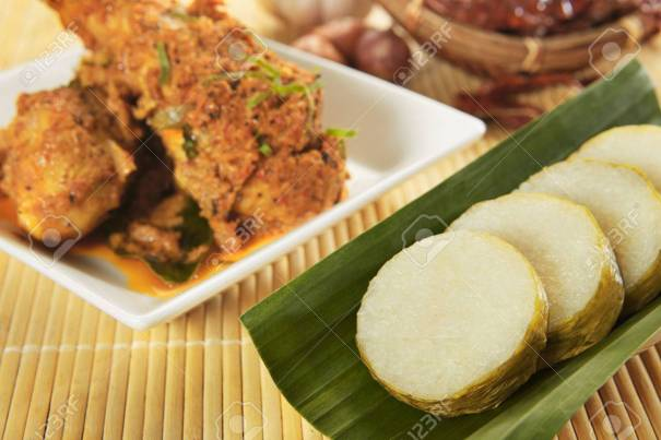 Lemang and chicken rendang, bamboo glutinous rice dumpling with spicy meat dish